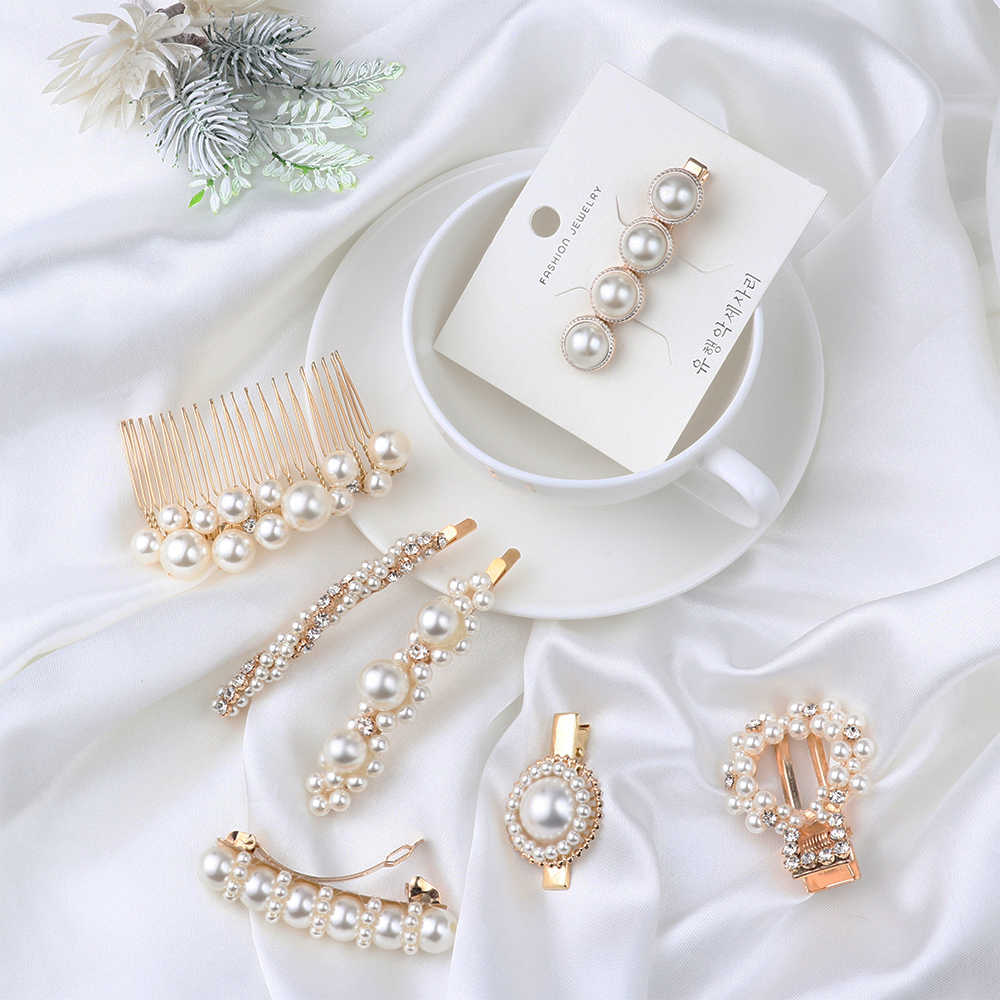 1PC Women Elegant Pearl Crystal Hair Clips Korea Chic Pearl Flower Hair Combs Hair Accessories Geometric Round Metal Hairpins