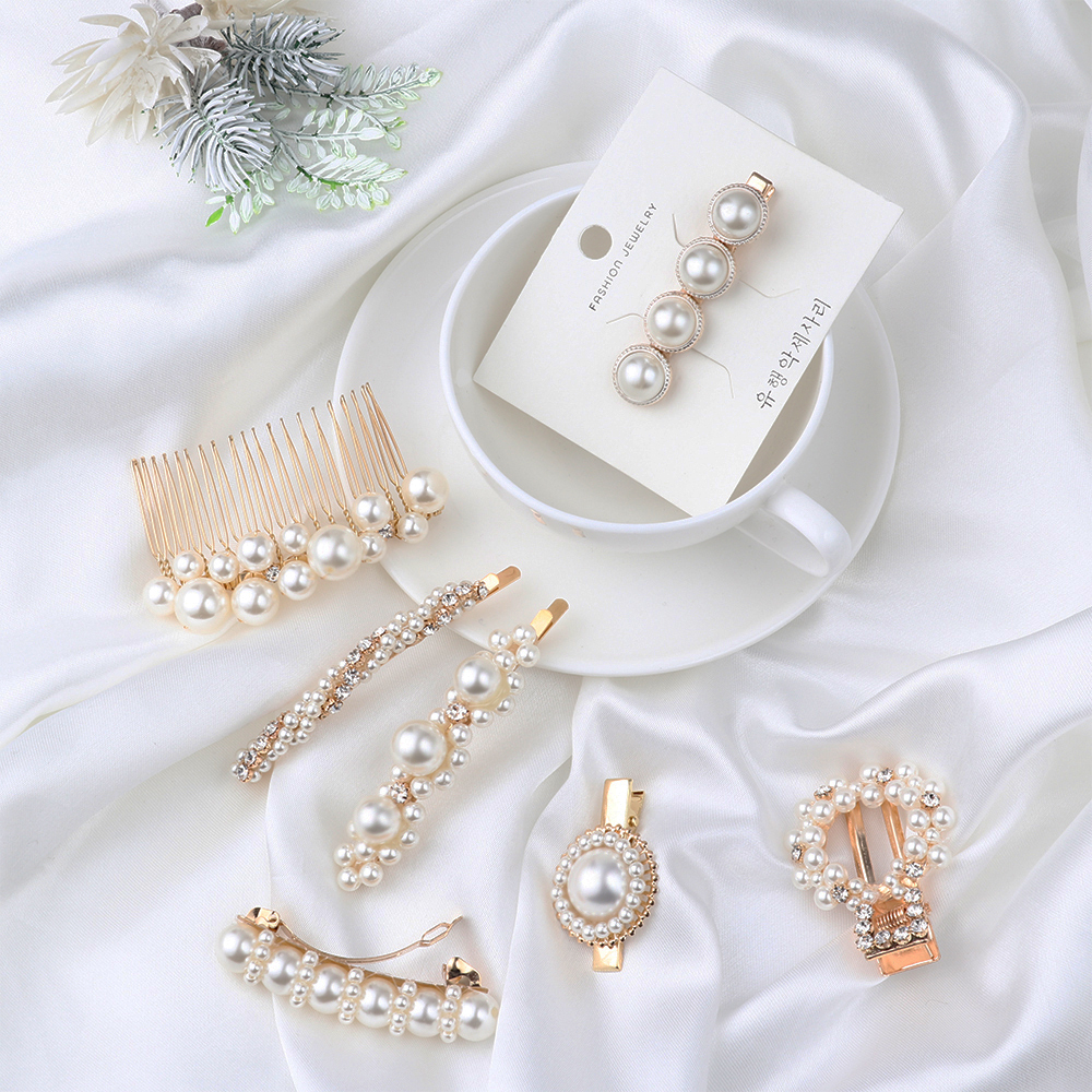 1PC Women Elegant Pearl Crystal Hair Clips Korea Chic Pearl Flower Hair Combs Hair Accessories Geometric Round Metal Hairpins -in Hair Clips & Pins from Beauty & Health on Aliexpress.com | Alibaba Group