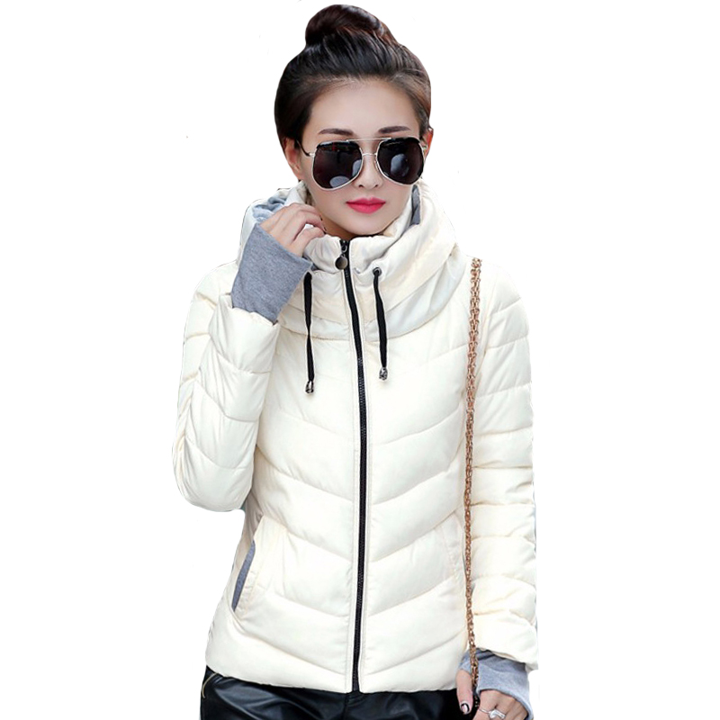 Autumn Winter Short   Jacket   Women Parkas Outerwear Solid Hooded Coats Female Slim Cotton Padded   Basic     Jacket   chaqueta mujer