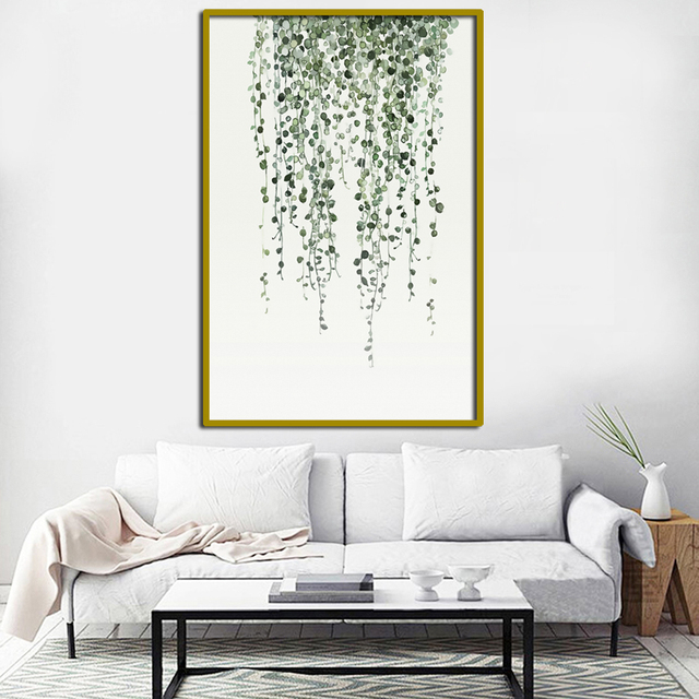 Watercolor Green Plants Leaves Canvas Paintings Nordic Scandinavian Wall Art Poster Living Room Home Decorfa678