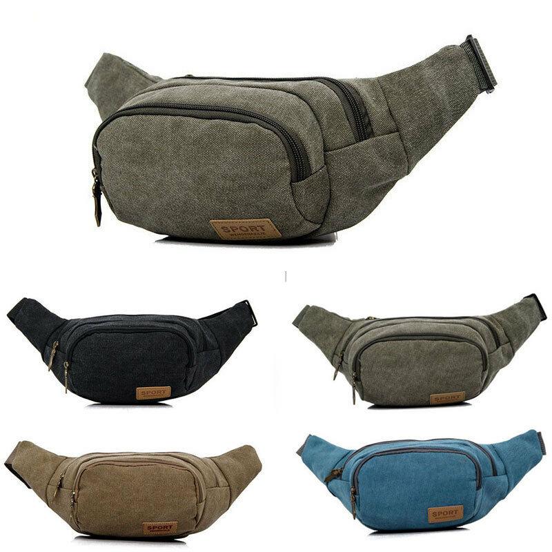 Newest Waist Fanny Pack Men Canvas Woolen Belt Zipper Waist Bag Travel Wallet Beach Men Casual Waist Packs