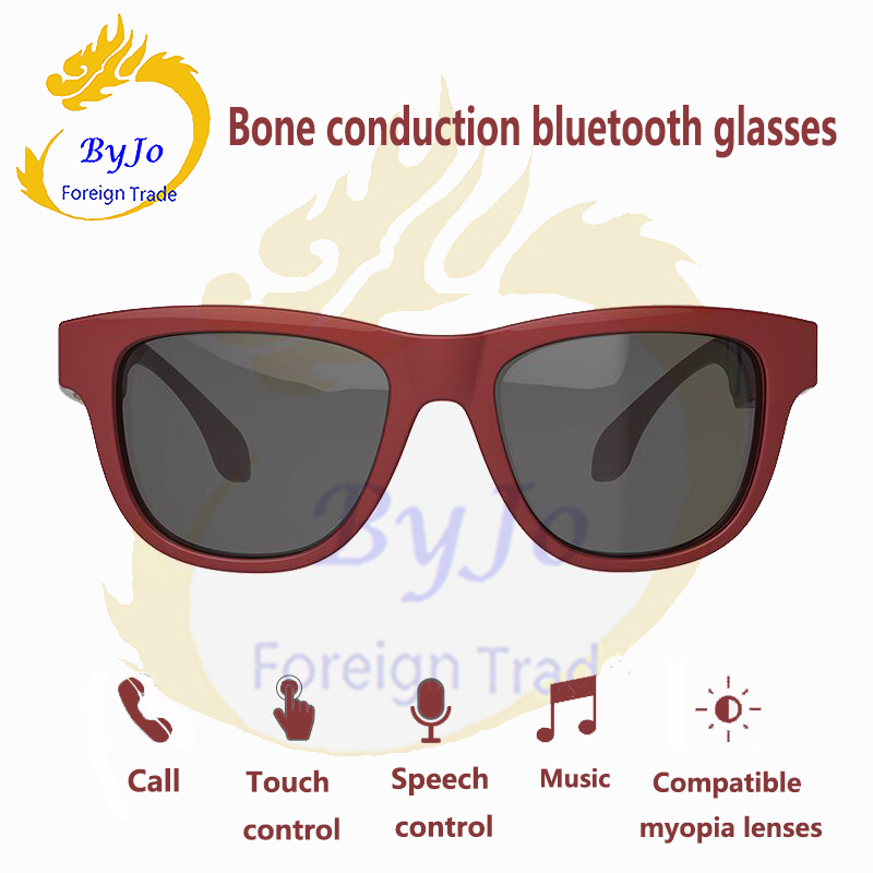 Gombes Newest Bluetooth headphones sunglasses music microphone bone conduction headset touch control compatible with myopia lens gl01 bone conduction bluetooth glasses ip67 waterproof one click answering call compatible with sunglasses and myopia glasses