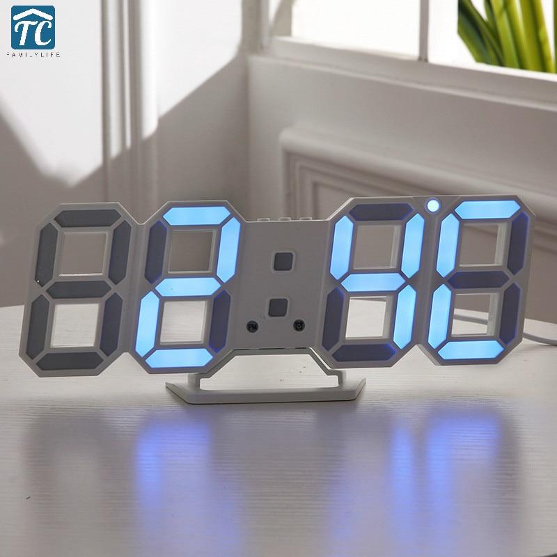Large Modern 3D Led Digital Wall Clock 24 / 12 Hours ...