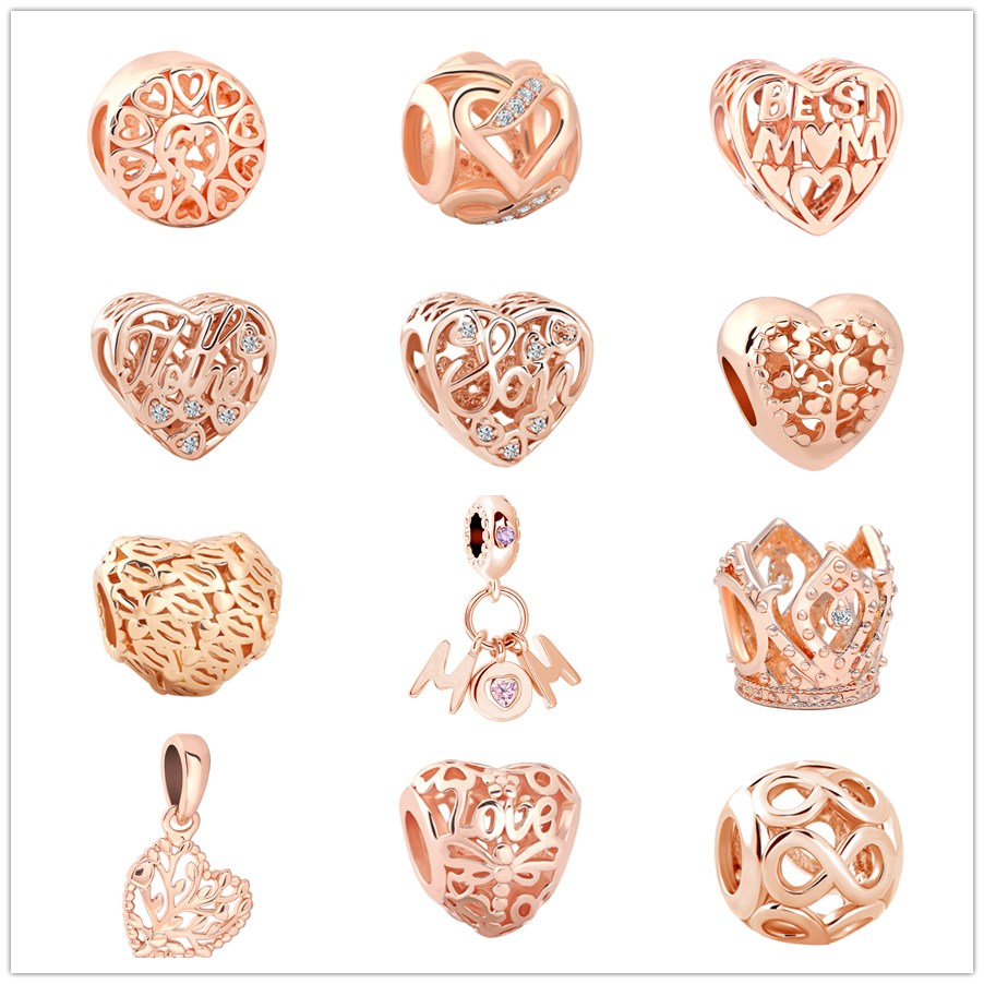Jewelry & Accessories Temperate Virgooer Rose Gold Heart Crown Infinity Mom Love Pendants Beads For Jewelry Making Fits Pandora Charm Bracelets Drop Shipping