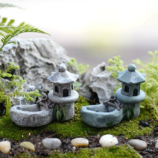 unids mini retro estanque torre arte de la resina decoracin del jardn de hadas figuras