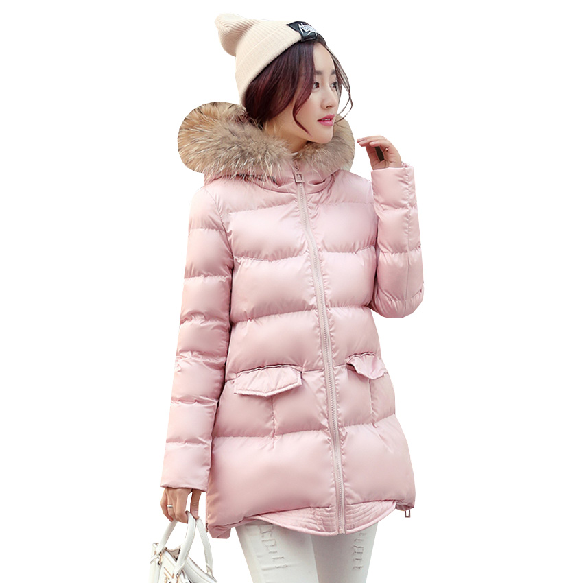 Autumn Winter Women Parka Jacket Warm Thick Hooded Cotton Padded Coat Cloak Outwear Female Fur Collar Medium Long Jackets SF463 xiaying smile summer new woman sandals platform women pumps buckle strap high square heel fashion casual flock lady women shoes