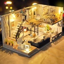 CUTEBEE DIY Doll House Wooden Doll Houses Miniature dollhouse Furniture Kit Toys for children Christmas Gift TD32 недорого