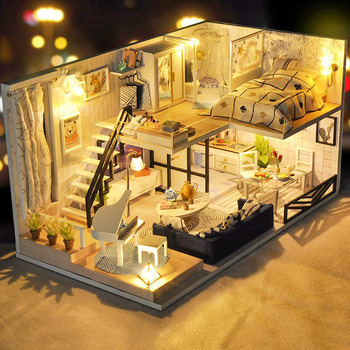 цена на CUTEBEE DIY Doll House Wooden Doll Houses Miniature dollhouse Furniture Kit Toys for children Christmas Gift TD32