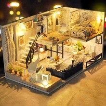 CUTEBEE لتقوم بها بنفسك بيت الدمية بيوت الدمية الخشبية مصغرة دمية مجموعة الأثاث لعب للأطفال هدية الكريسماس TD32