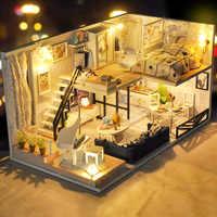 Casa de DIY para muñecas CUTEBEE, casas de muñecas de madera, casa de muñecas en miniatura, conjunto de muebles, juguetes para niños, regalo de Navidad TD32