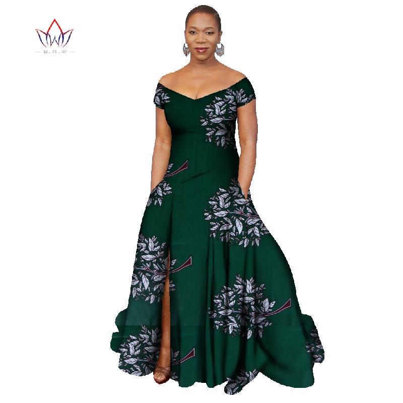 2018 Лонг Хаљина Африка Базин Рицхе - Женска одећа - Фотографија 3