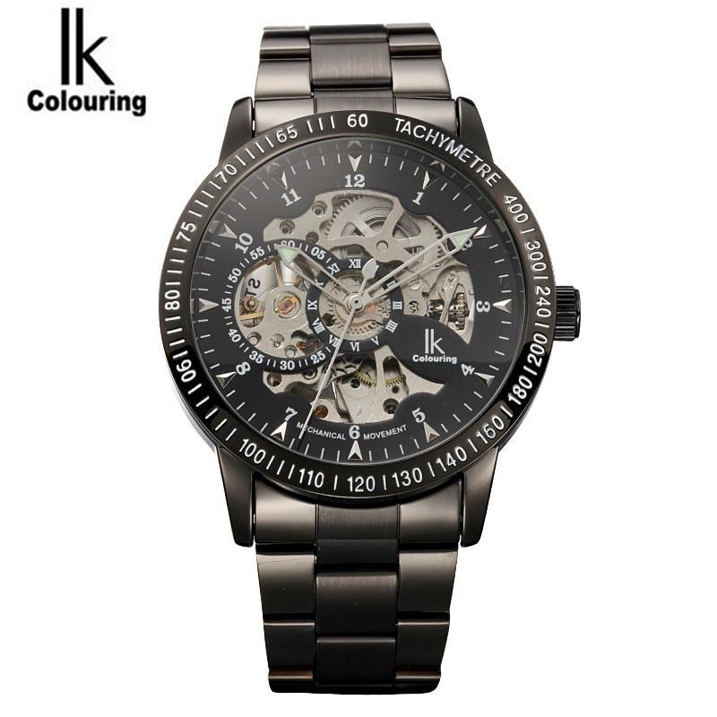 ФОТО Luxury IK Coloring Casual Watches Men Men's Skeleton Dial Auto Mechanical Wristwatch with Original Box Free Ship