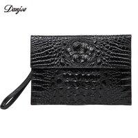 DANJUE Genuine Leather Men Day Clutches Bags Men Business Bag Alligator Pattern Hand Bag Men Black Trendy Man Phone New Wallet