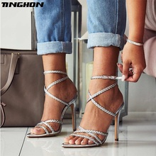TINGHON Sexy Sandals Women's Shoes Ladies Sandal Summer New Pointed Open Toe Muoth Cross Weave Thin High Heels Party Shoes цена 2017