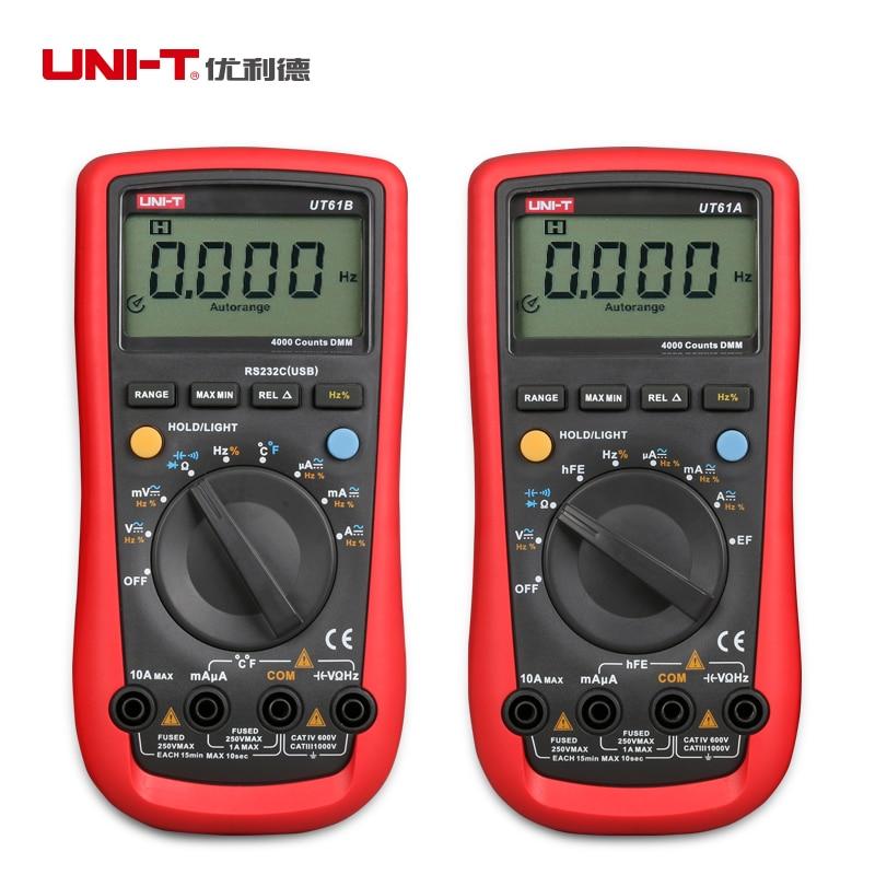 New UNI T UT61A Digital Multimeter Modern DMM Transistor NCN Tester Voltage Current Resistance Frequency Meter