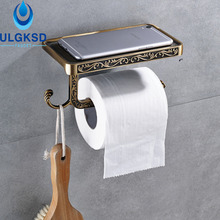 Ulgksd Antique Carved Bathroom Paper Tissue Holder Toilet Paper Racks Storage Bar With Phone Rack Towel Hook BathWall Mounted
