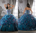 Quinceanera vestidos coloridos em camadas drapeado alças Applique cristal Hot 15 16 anos YH451