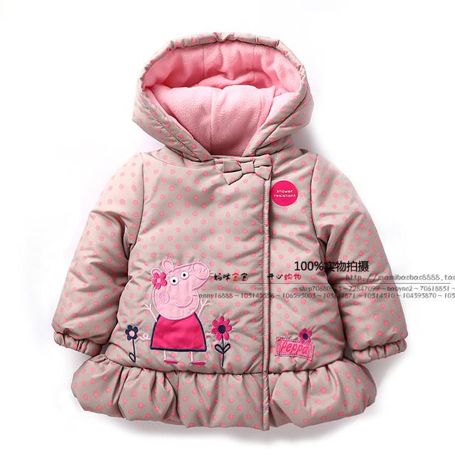 Novo 2015 outono inverno crianças outerwear roupas de bebê crianças jaquetas casacos de toda a - jogo linda dot pig casacos meninas parka criança