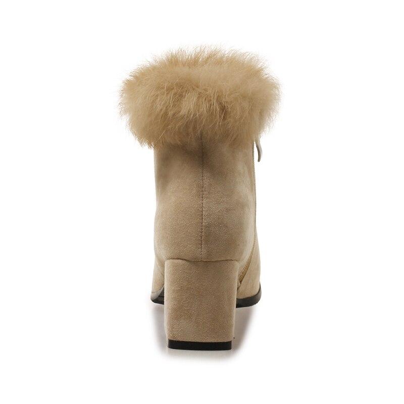 Misakinsa Épais D'hiver Fourrure Taille Beige Fermeture Chaud Femmes Courtes Mode Chaussures Éclair De Bureau 33 Talon Bottes Cheville Dames noir 43 rFqrwp8
