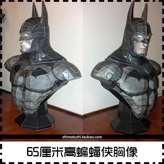 Batman busto 65CM alto modelo de papel DIY hecho a mano rompecabezas juguete