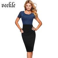 VEEKLE Women Summer Elegant Modest Stylish Bodycon Lace Mesh Patchwork Black Work Office Pencil Rockabilly Dress Short Sleeve