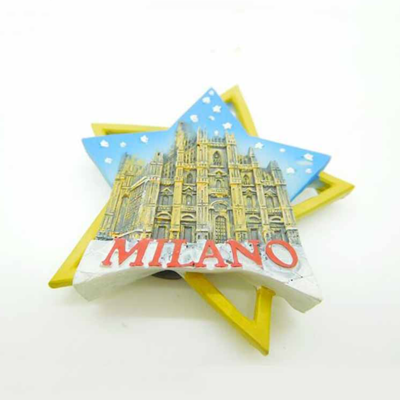1Pcs new Handmade High Quality Milan Cathedral Creative 3D Star Fridge Magnets World Travel Souvenirs Magnetic Stickers