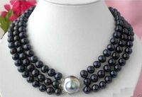 new 3 ROW 8 9MM BLACK TAHITIAN PEARL NECKLACE 18 20 INCH SHELL CLASP