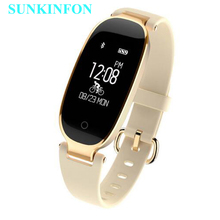 S3 Bluetooth Waterproof Smart Watch Wristband Fashion Women Ladies Heart Rate Monitor Fitness Tracker Smartwatch for Android IOS