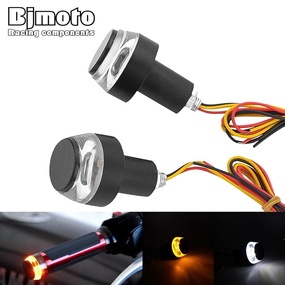BJMOTO 2Pcs Led Motorcycle Turn Signal Light Indicators 2W Flashers 22mm Handlebar Bar End Plug Blinker