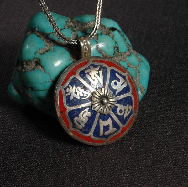 Handmade 925 Silver Nepalese Tibetan OM Mani Padme Hum Pendant Necklace Tibetan Buddhist OM Pendant Necklace Bohemia Necklace