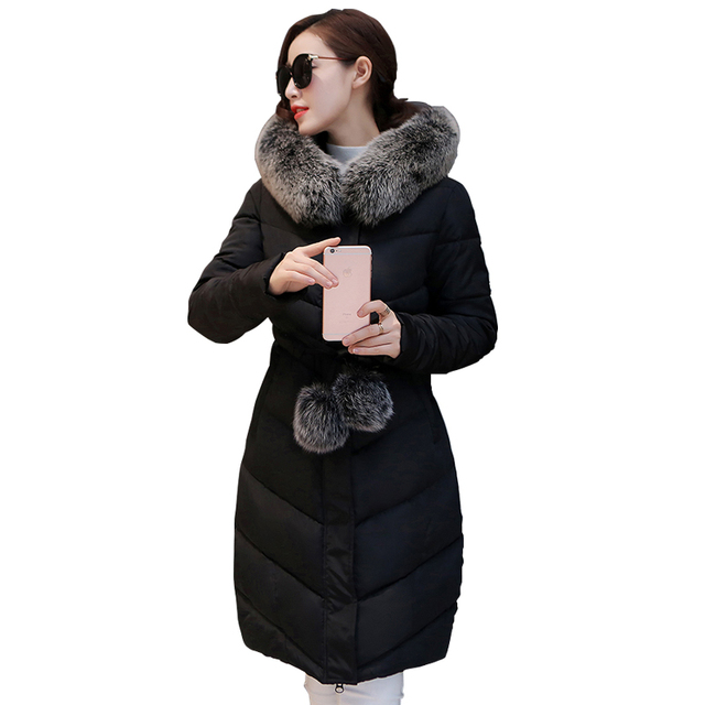 Fashion Down Parka Winter Jacket Women Cotton Padded Thick Ultra Light Long Coat Faux Fur Collar Hooded Female Jackets For Woman