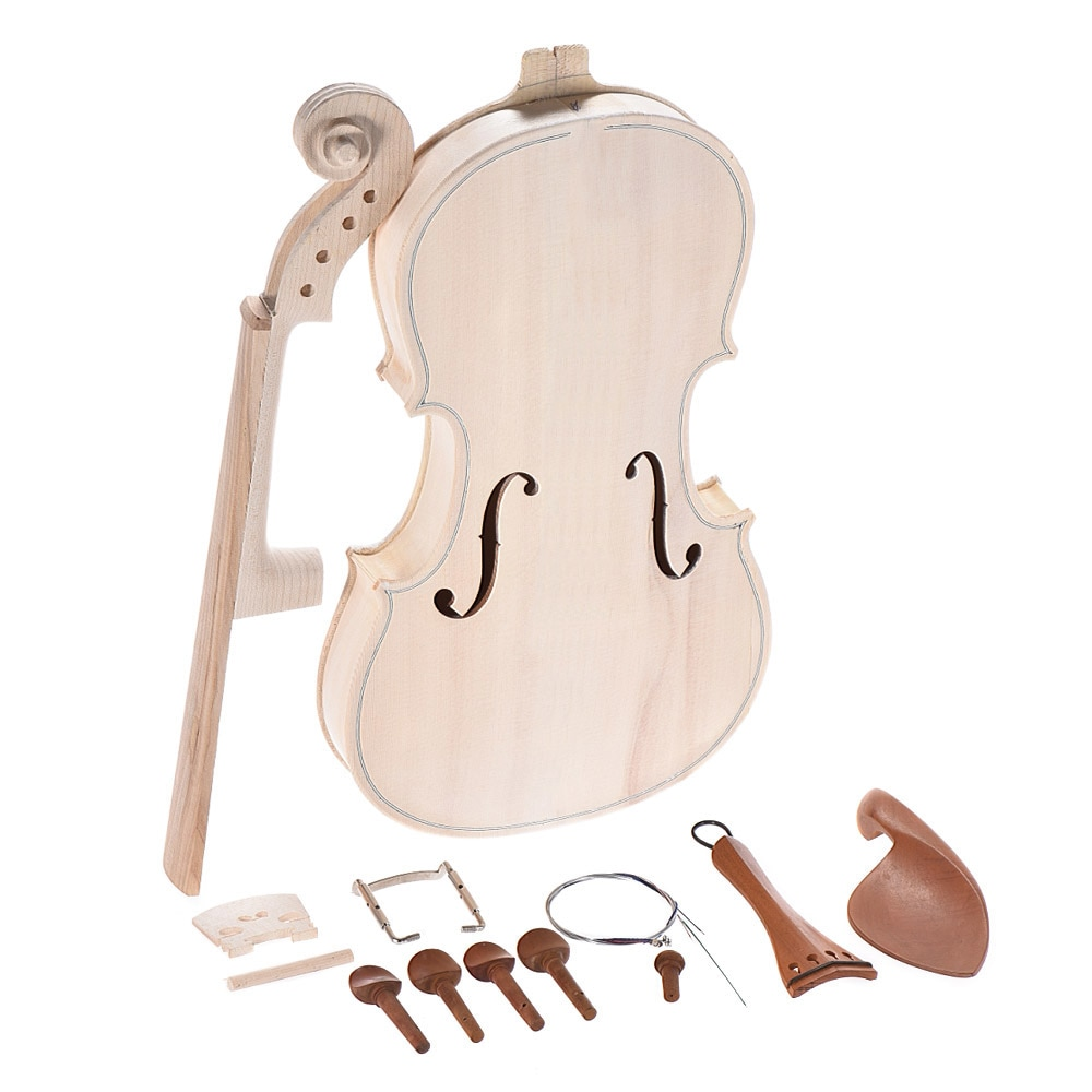 DIY 4/4 Full Size Natural Solid Wood Acoustic Violin Fiddle Kit with EQ Spruce Top Maple Back Neck Fingerboard AluminumDIY 4/4 Full Size Natural Solid Wood Acoustic Violin Fiddle Kit with EQ Spruce Top Maple Back Neck Fingerboard Aluminum