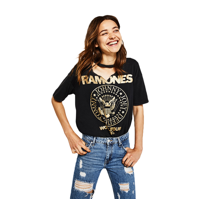 93e6def798c2 Black short sleeve gilding letter printed t shirts for women ladies street casual  punk rock Ramones choker V neck graphic tees