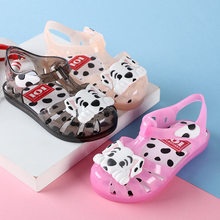 2019 New Cartoon Dog Sandals for Girls Summer Jelly Baby's Shoes Toddler Girls Sandals LED Flashing Beach Shoes Size 24-29(China)