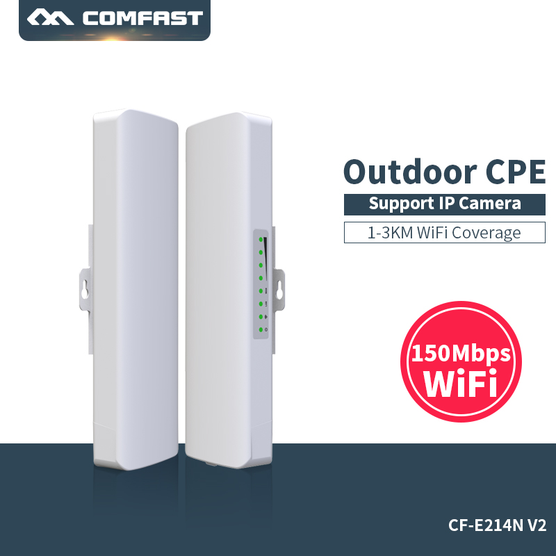 Comfast CF-E214NV2 2.4G Wireless outdoor router 2KM WIFI signal booster Amplifier WDS Network bridge 14dBi Antenna wi fi access 880mhz core full gigabit gateway comfast cf ac100 ac gateway controller mt7621 wifi project manager with 4 1000mbps wan lan port
