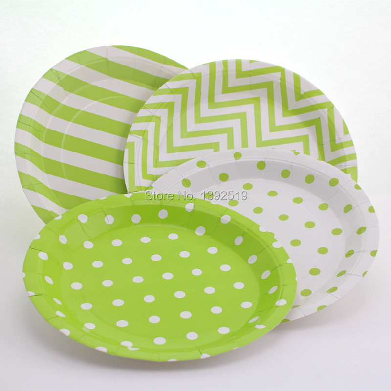 Free Shipping 120pcs Green Paper Plate 9\  Round Party Plate Kids Birthday Party Dessert Paper & Wholesale 48 pieces 9\