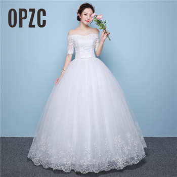 White Lace Boat Neck Half Sleeve Fashion Simple Wedding Dress Gowns High Quality Embroidery 3D Flowers Sashes Off the shoulder