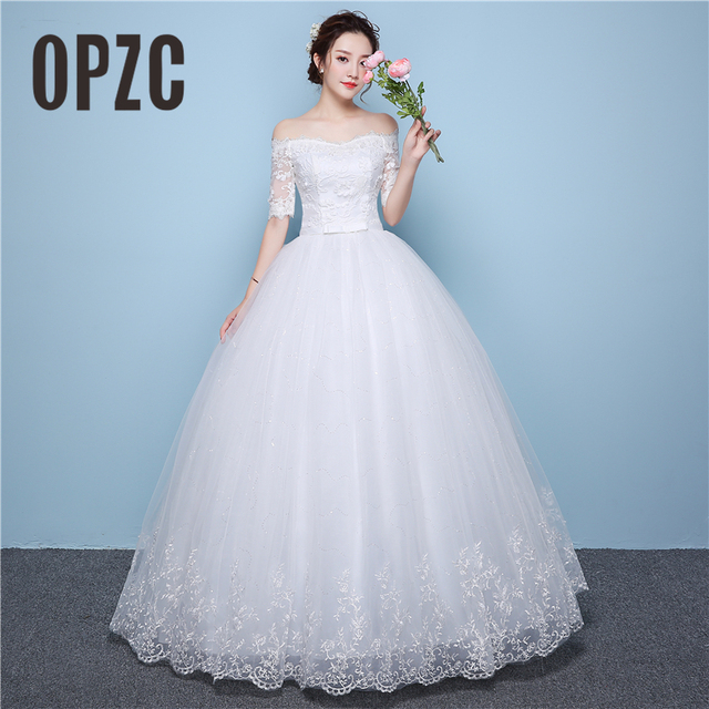 White Lace Boat Neck Half Sleeve Fashion Simple Wedding Dress Gowns High  Quality Embroidery 3D Flowers Sashes Off the shoulder ea9b054cad94