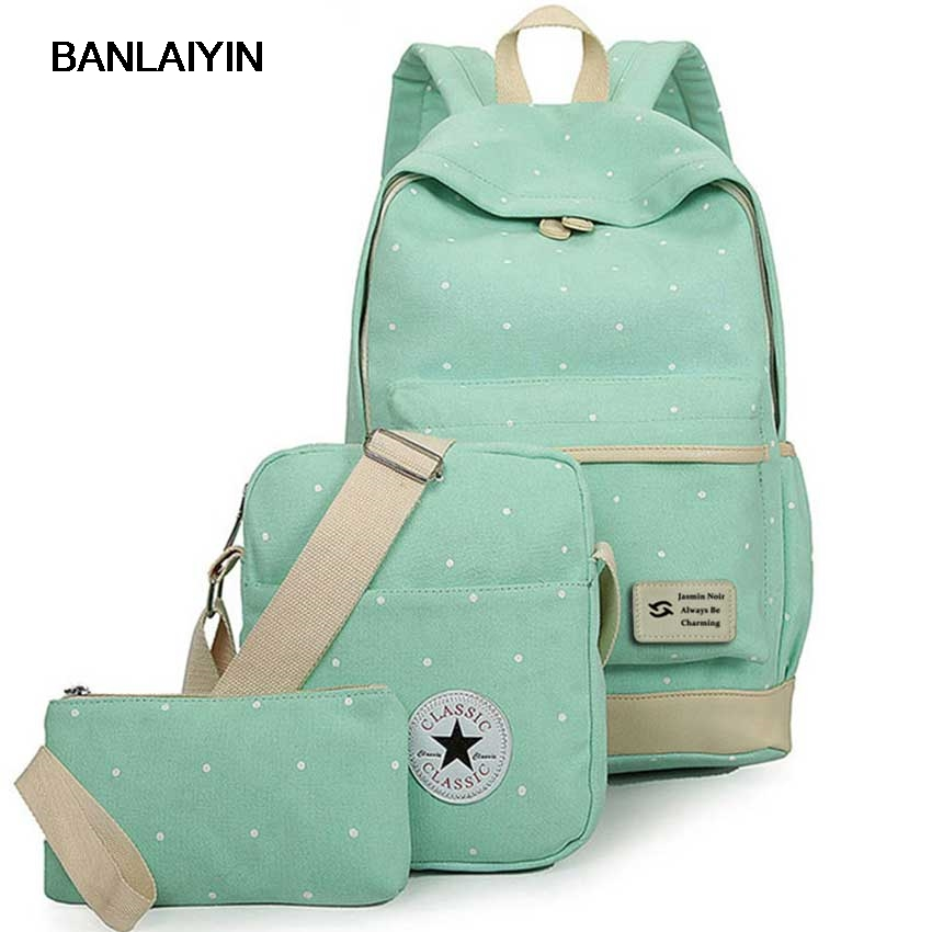 2pc set Fresh Canvas Dot High Quality Ladies School Bag For Teenager Women Backpacks Girl Student