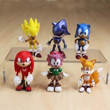 6Pcs/Set Sonic Pvc Action Figure Model Toy Cartoon Hedgehog Display Brinquedos Collection Creative Children Birthday Gift