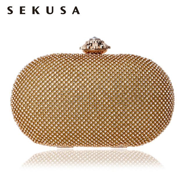 SEKUSA Full Of Rhinestones WomenEvening Bags Silver/Gold Flower Metal Crystal Wedding Handbags Chain Shoulder Clutch Purse Bag
