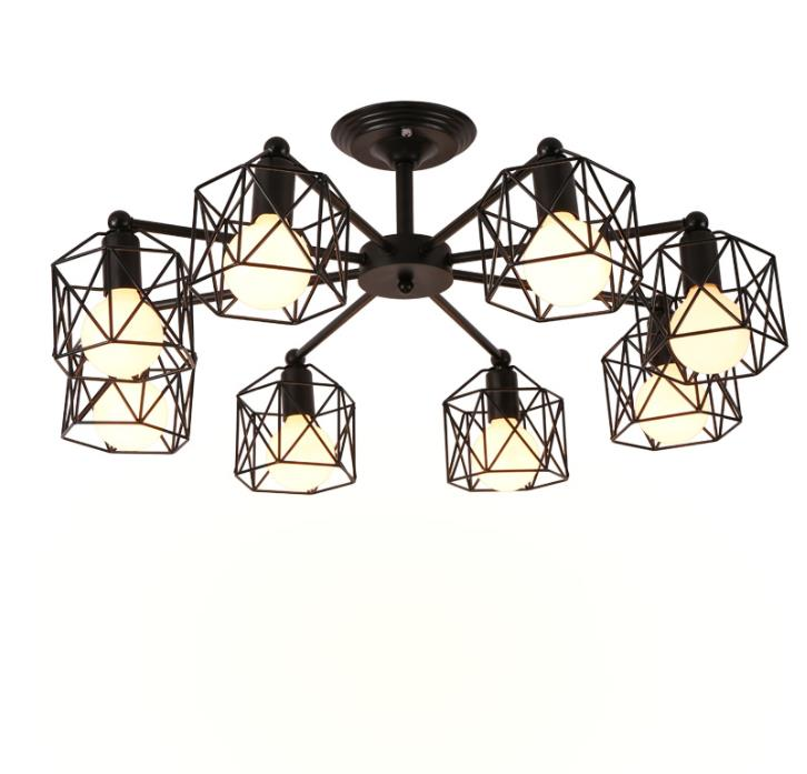 Vintage Chandeliers Multiple Rod Wrought Iron Ceiling Lamp E27 Bulb Living Room Lamparas for Home Lighting FixturesVintage Chandeliers Multiple Rod Wrought Iron Ceiling Lamp E27 Bulb Living Room Lamparas for Home Lighting Fixtures