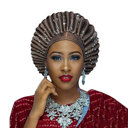 African Aso Oke Headtie Auto Gele  Ladies Auto Gele Hat Wear Wrappers For Wedding And Party