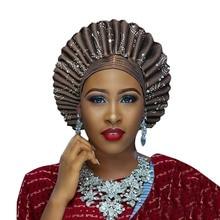 האפריקאי אסו אוקי Headtie אוטומטי Gele גבירותיי אוטומטי Gele כובע ללבוש עטיפות לחתונה ומסיבה