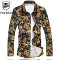 Fire Kirin Men Shirt Luxury Brand Long Sleeve Gold Shirt Designer Casual Shirts 5XL 6XL Mens Wedding Shirts Chemise Homme T194