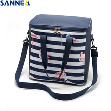 SANNE 21L flamingo diagonal straddle insulated thermal bag large capacity ice picnic cooler with Side pocket