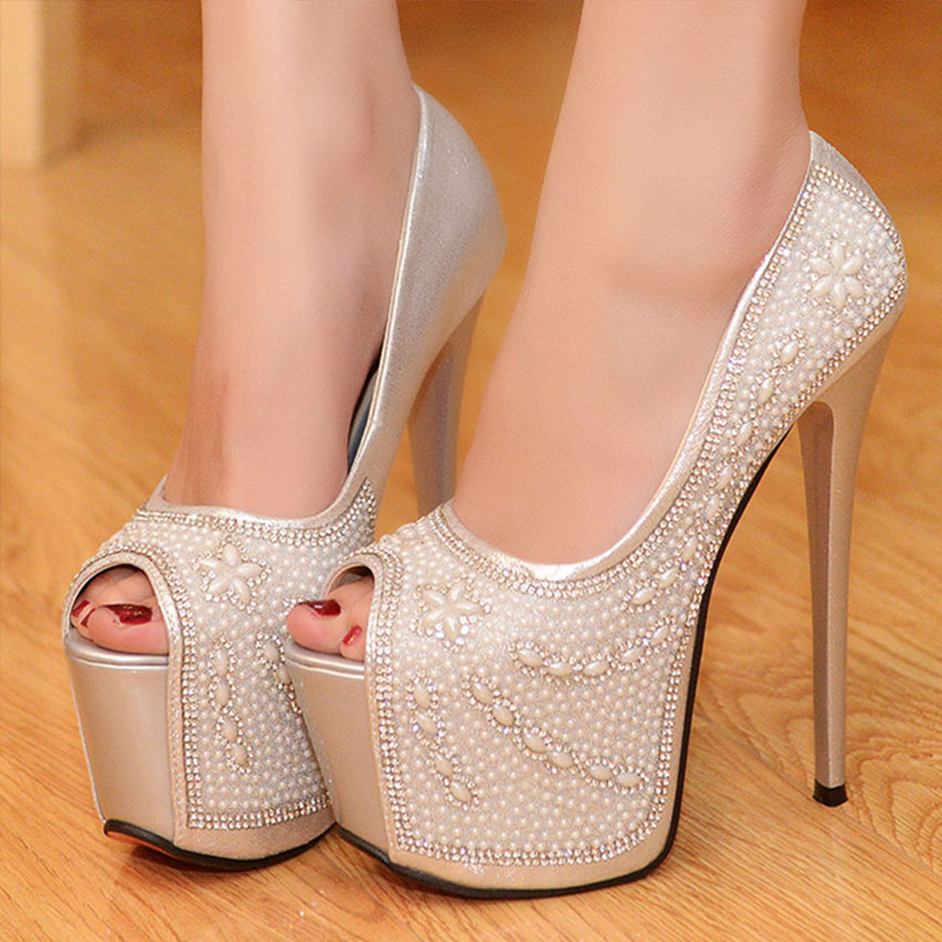 ФОТО HOT  New Fashion Platform Pumps Rhinestone Wedding Shoes High Heel Gorgeous Crystal Wedding Ceremony Pumps Party Prom Shoes