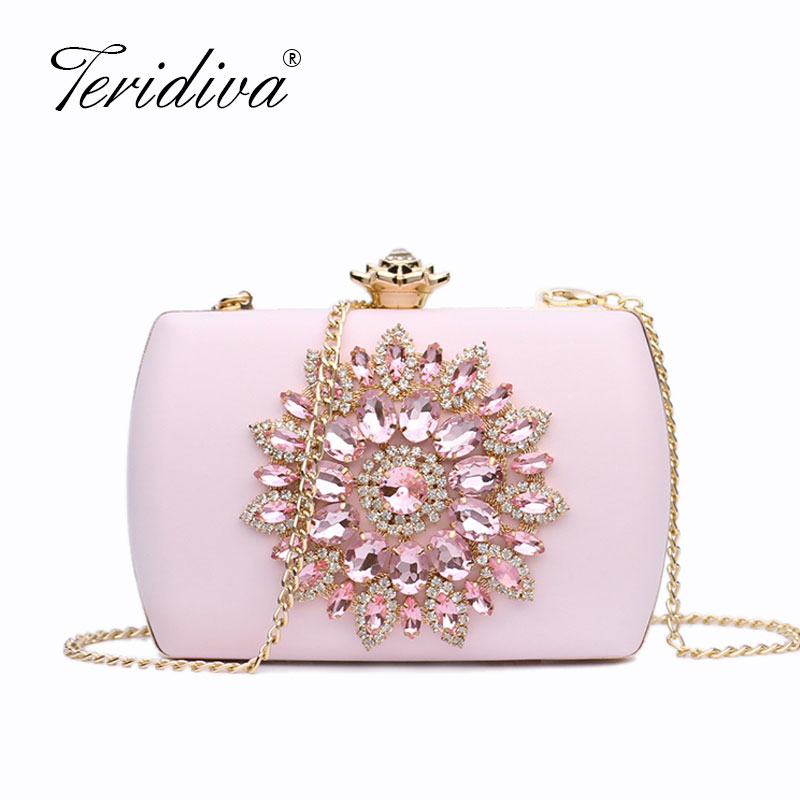 Purse Clutch-Handbag Evening-Bags Wedding-Party-Chain Crystal Shoulder-Bag Flower Fashion