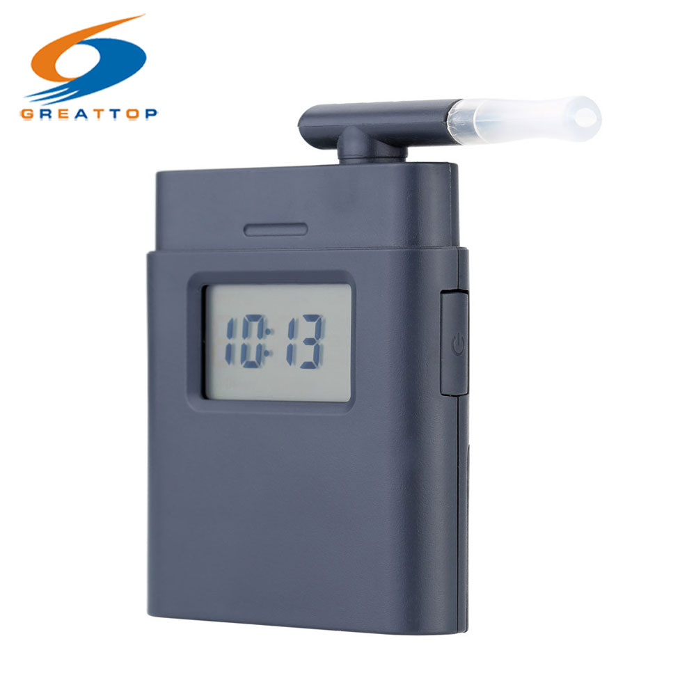 Prefessional Mouthpiece Breath Alcohol Tester with Time Display Mini Pocket Breathalyzer