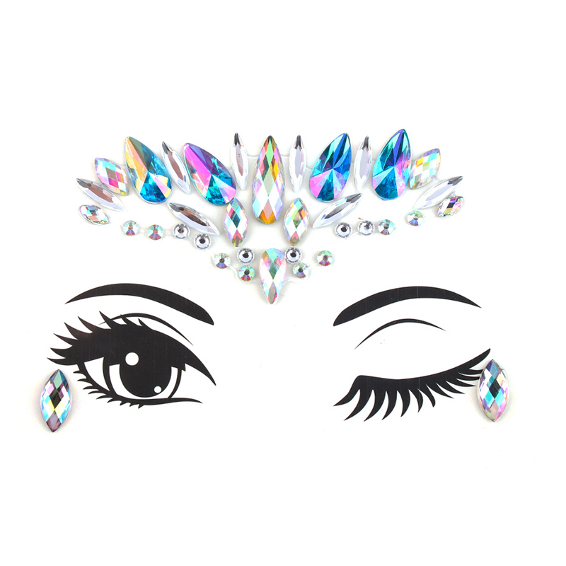 2020 Fashion Diy Eyebrow Face Body Art Adhesive Crystal Glitter Jewels Festival Party Eye Tattoo Stickers Night Club Makeup Aliexpress